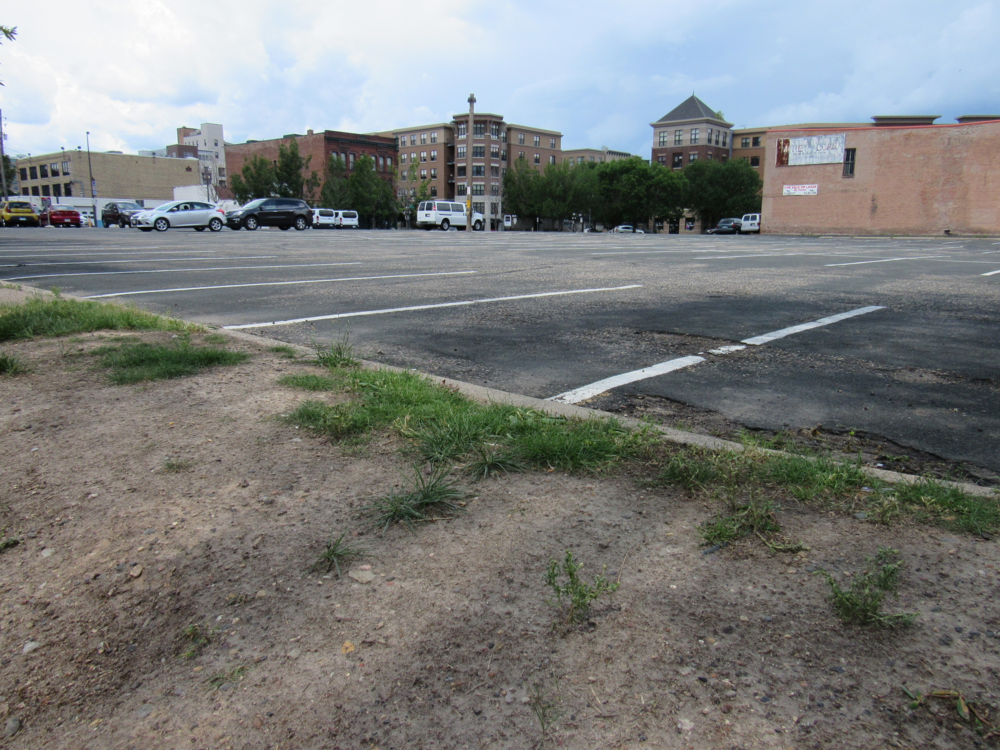 Empty parking lot in St. Paul's Lowertown