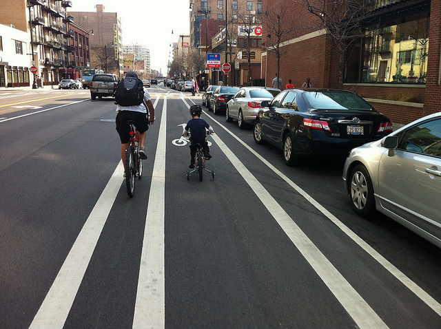 family in bike lane