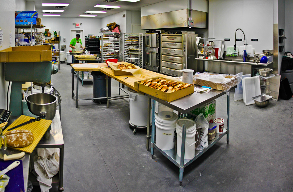 Inside the bakery kitchen