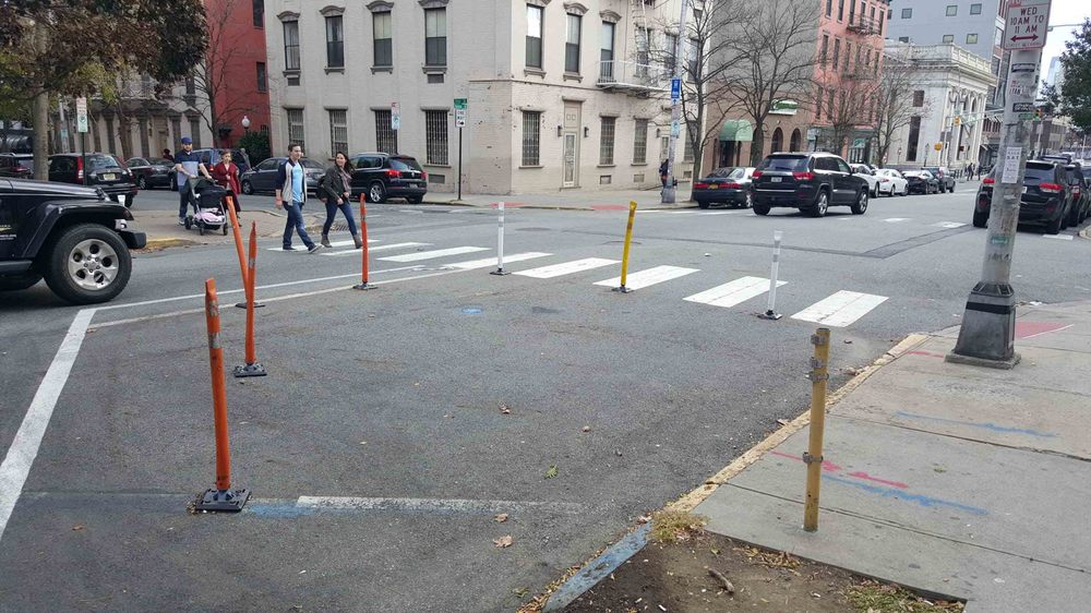 A temporary crosswalk bump out in Hoboken.