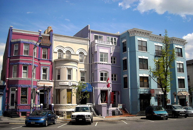 Rowhouses in the Adams Morgan neighborhood of Washington, DC. (Photo by Josh)