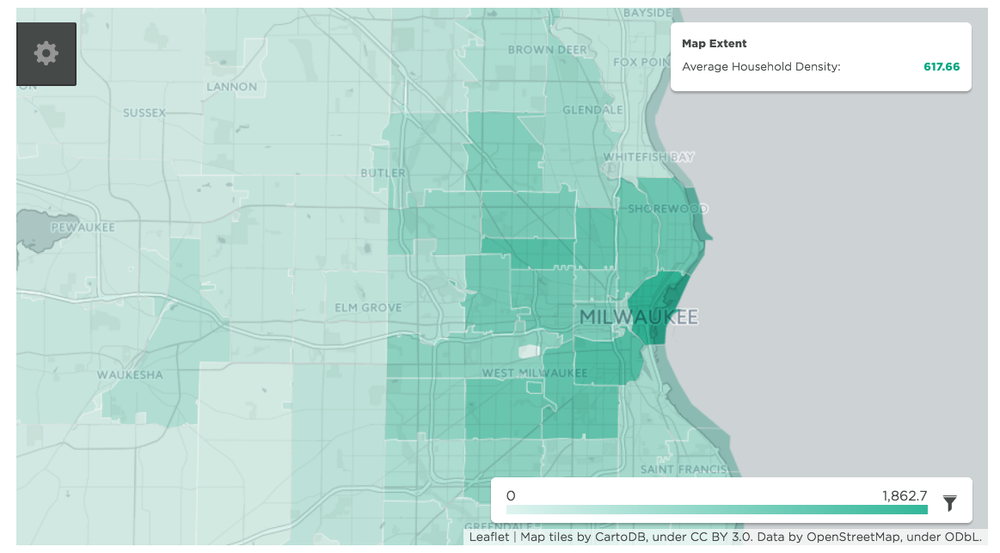 Milwaukee household density. Click to view larger. (Source: Visualized in mySidewalk, information from the U.S. Census Bureau; American Community Survey (ACS), 2010–2014 5-Year Estimates)