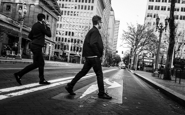 Crossing the street in Portland (Photo by  TMImages PDX )