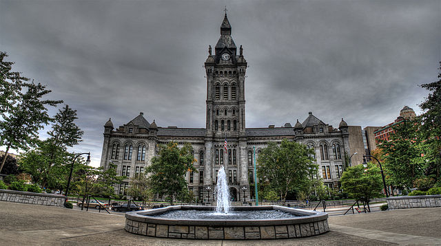 Buffalo County and City Hall, located near the harbor ( source )