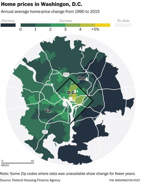 Home price changes in the metro Washington, DC region. Note how the highest growth has been in the central core. (Courtesy of The Washington Post and Federal Housing Finance Agency)