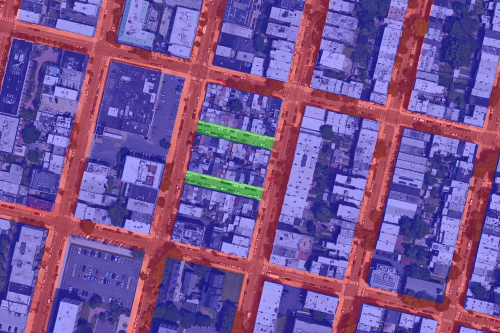 A block in Hoboken, NJ that has been subdivided by two streets into 3 much smaller blocks.  (Map.)