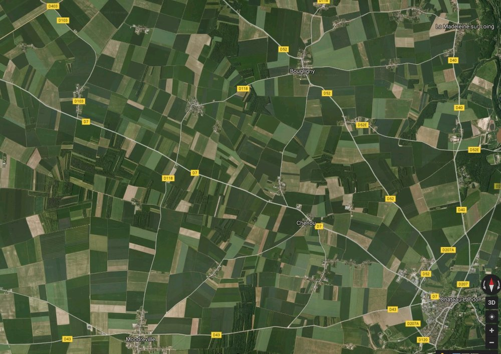 French villages and agriculture, south of Paris.  (from Google maps)
