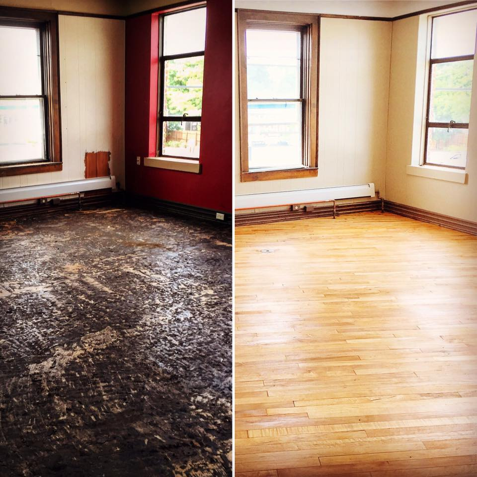 Before and After photos of an upstairs room in the building. (Image from The Norwegian Facebook page)