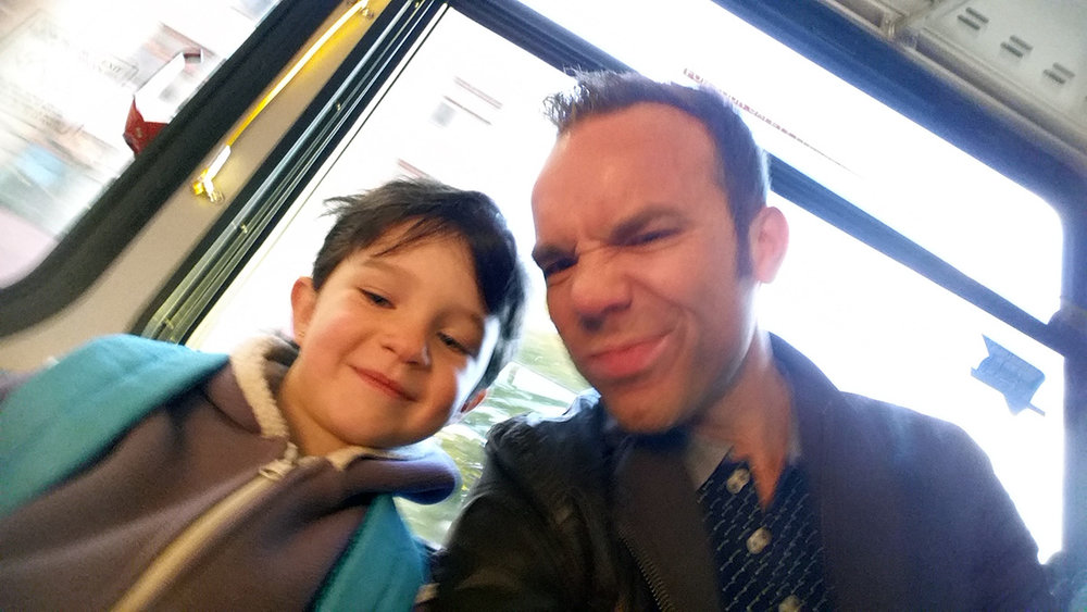 Harlow and I, chilling together on the bus