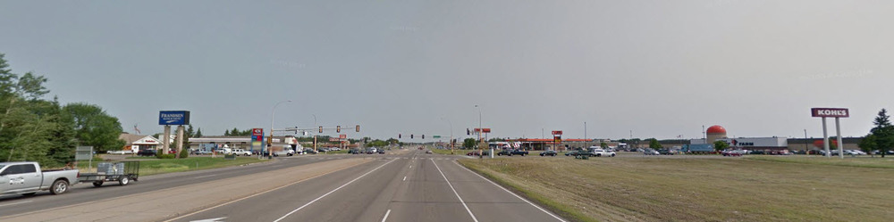 Baxter's Highway 371 strip. (Image from Google Earth)