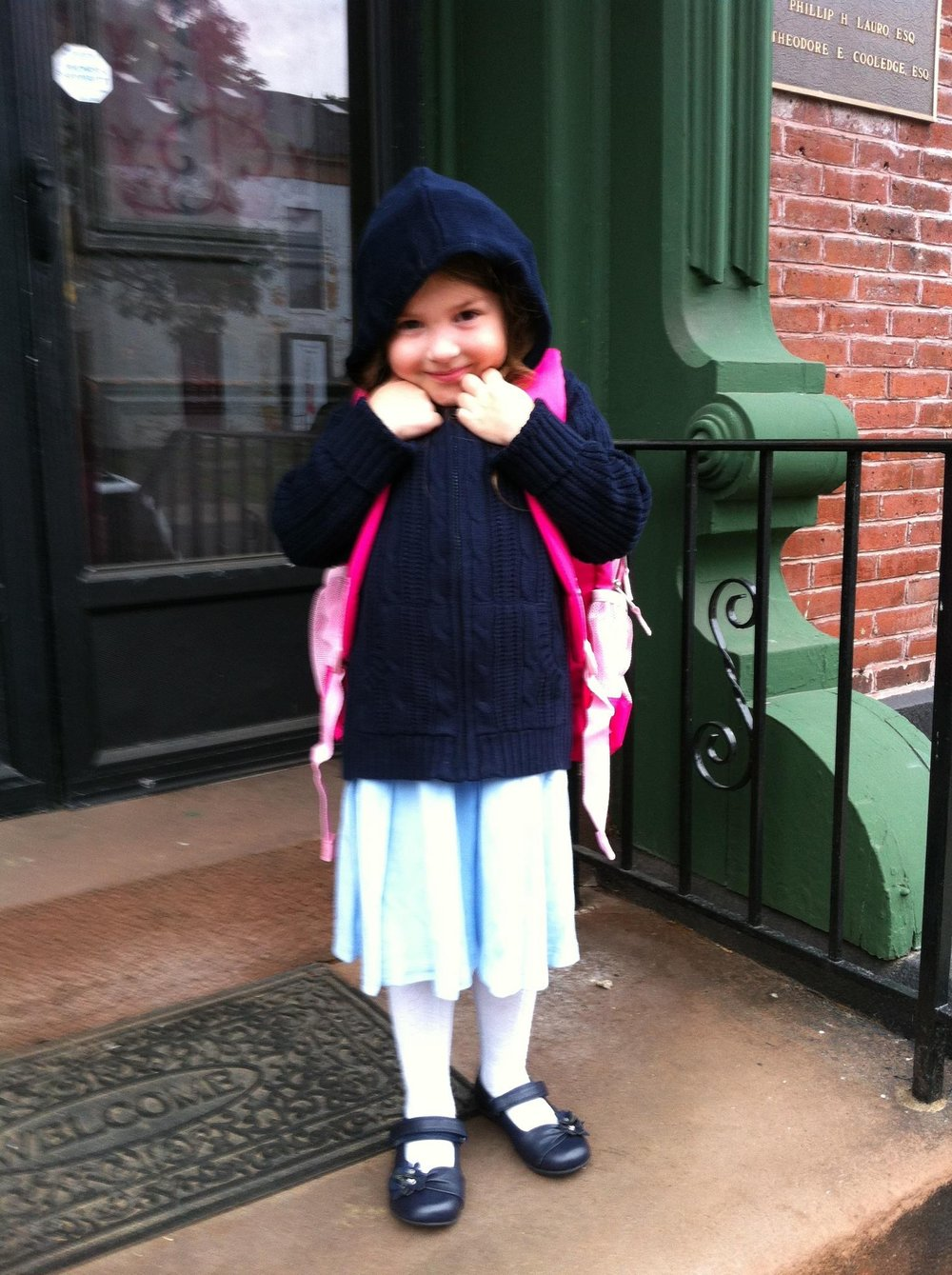 The author's daughter, LuLu, on her first day on school