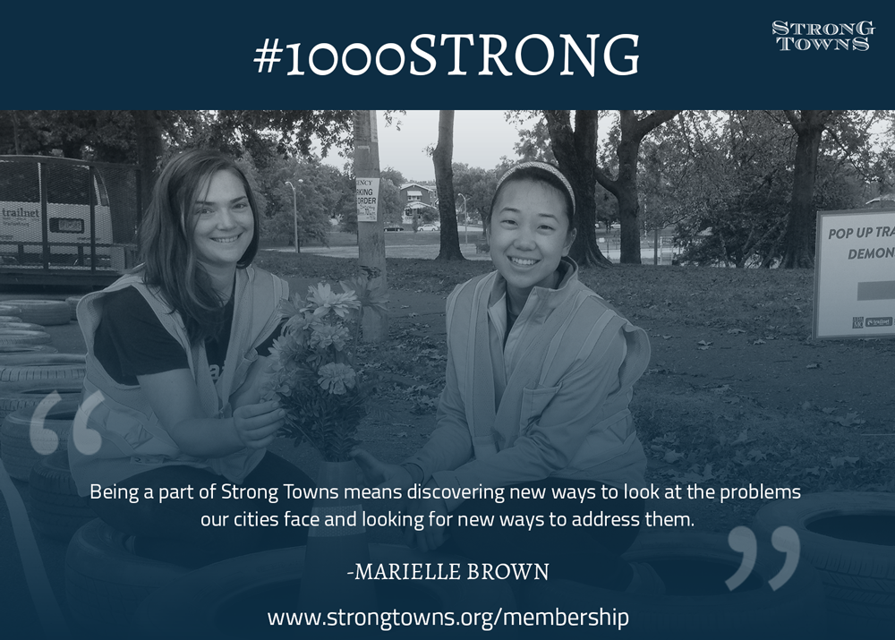 Marielle (left) and her friend and colleague, Grace Kyung, featured in a Strong Towns membership meme.