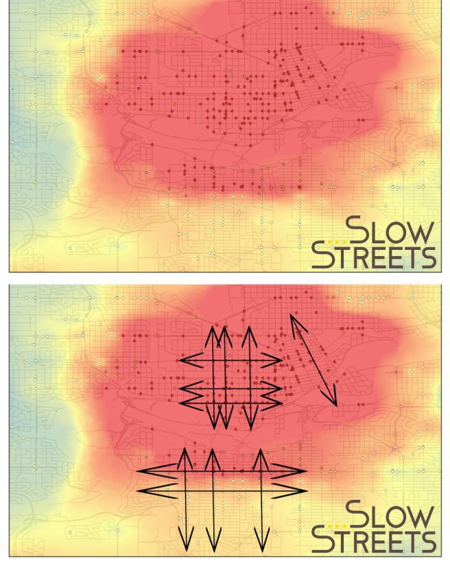 Top: Each dot represents a vehicular collision with someone cycling. Bottom: This demonstrates how you begin to see some of the desire lines along corridors. (Source: City of Edmonton 2009-2014)