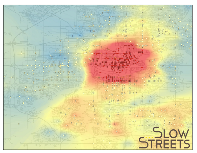 A heat map created using ArcGIS Hot Spot, which determines the areas that are statistically significant related to higher volumes of vehicle and cycling collisions. Based on this map the city would get the highest return on investment of the highest reduction in collisions per dollar spent in the Downtown and Old Strathcona areas.