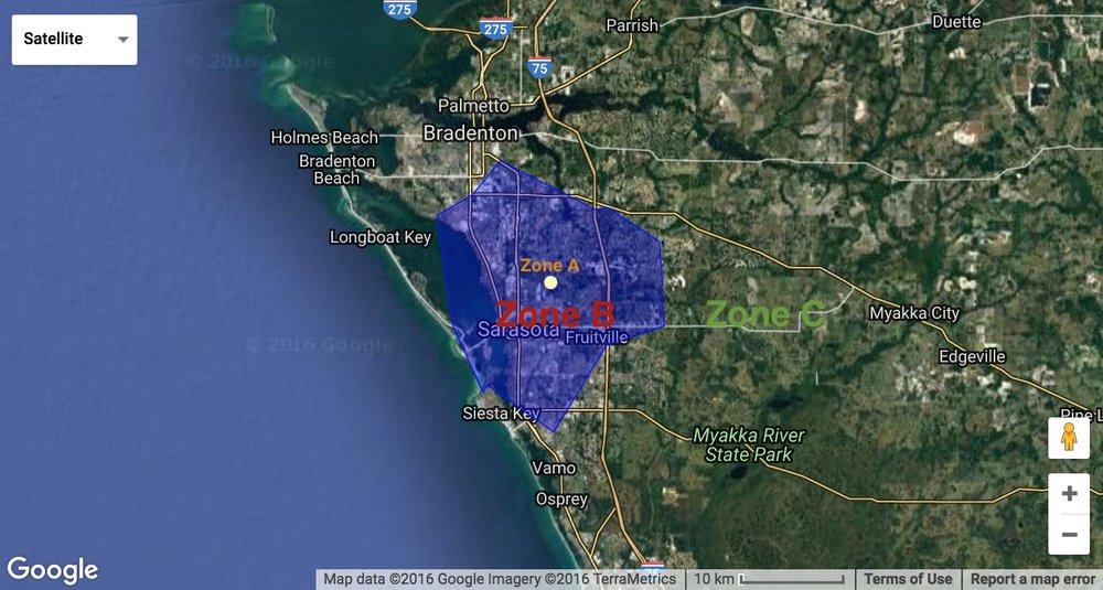 Source: Google. Zone B boundaries creating using FreeMapTools.