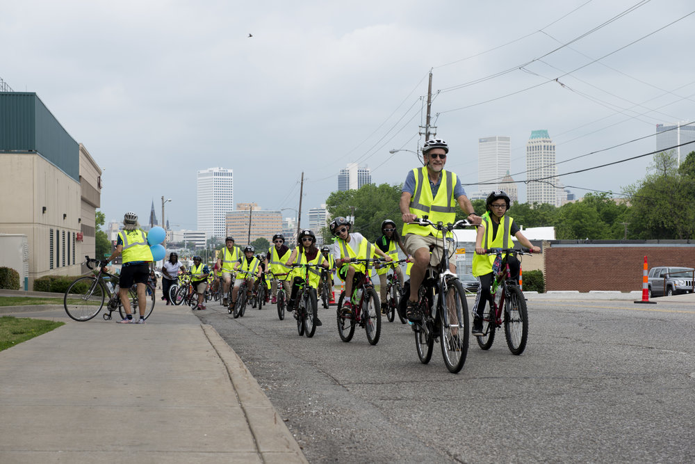 Bike Club members test out temporary bike lanes on Route 66 in Tulsa, OK. - Photo courtesy of Bike Club.