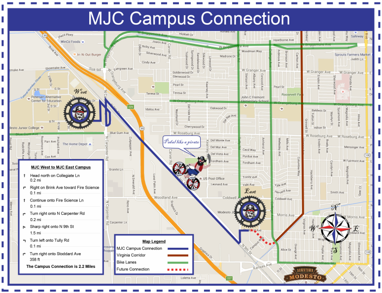 Map of the bike route(s) from the City of Modesto. Click to view larger.