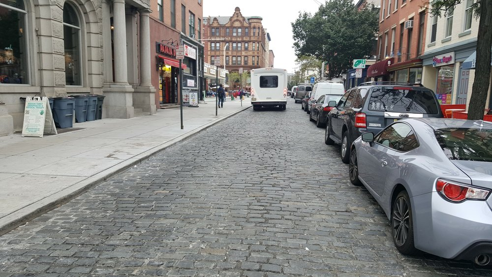 A recently paved segment of Newark Avenue in Belgian block.