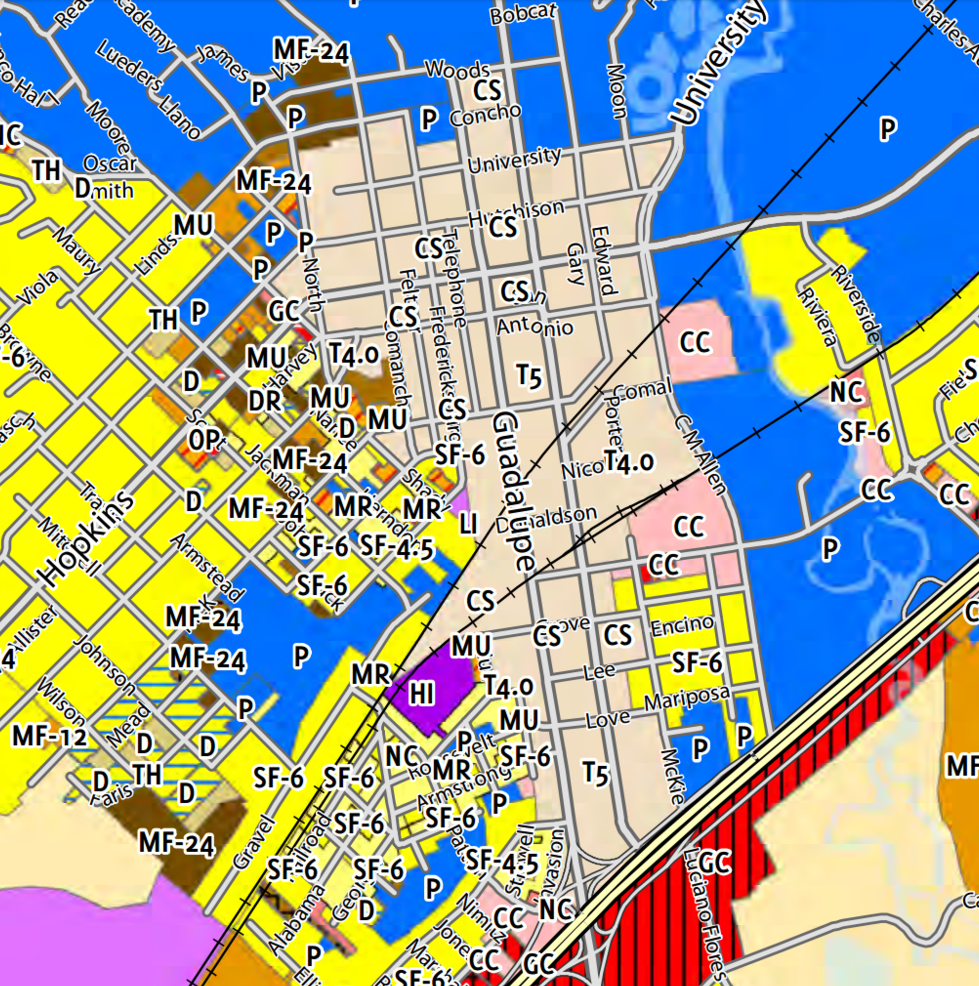 Zoning in the downtown core of San Marcos, TX. Enough T-5 to bring population from 54,000 to a couple hundred thousand, at least.