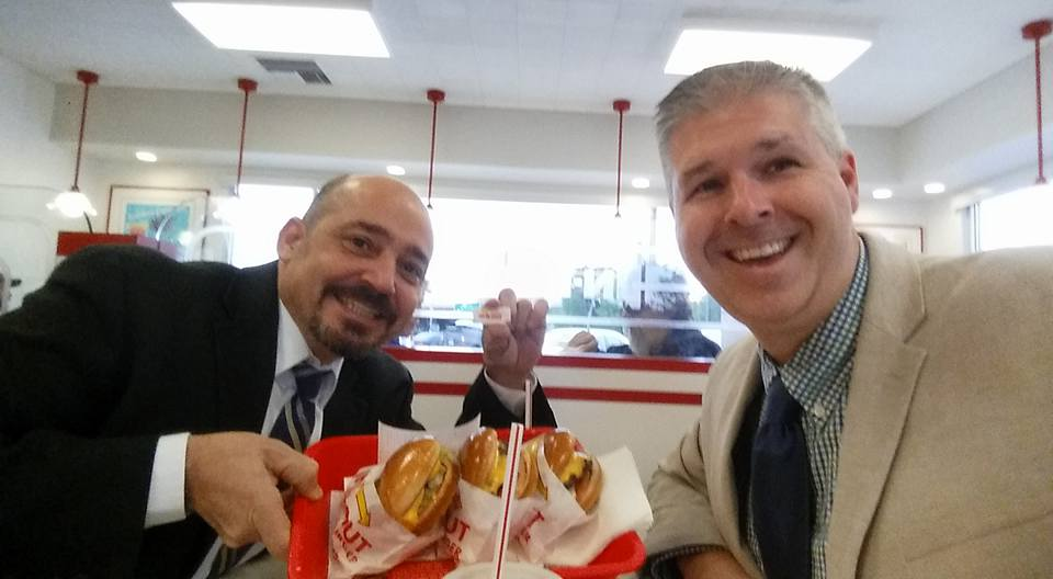 Enjoying In-n-Out burger with one of my best friends, Joe Minicozzi. Am I sharing a happy moment or signaling to my tribe? Or both?