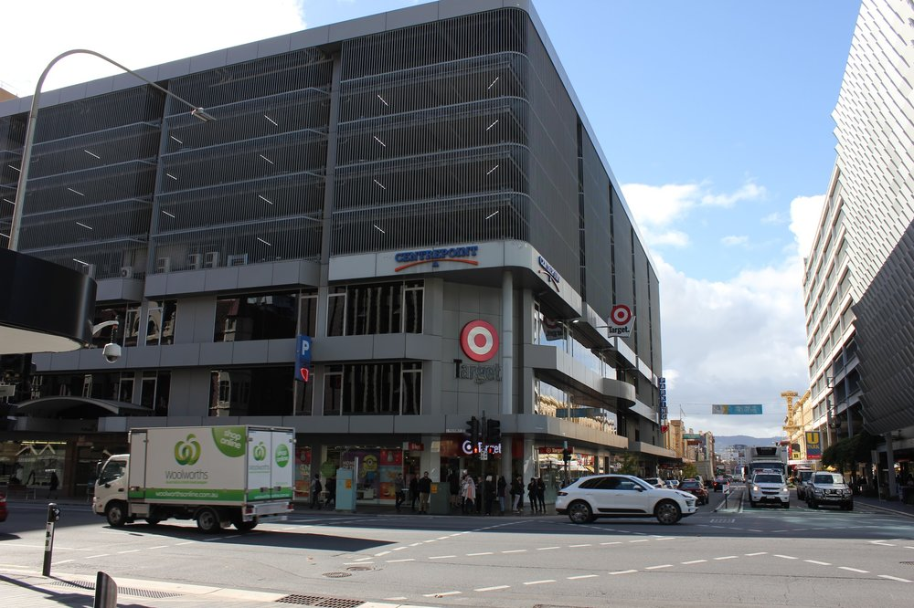A parking garage in Adelaide with a department store on the first few levels.