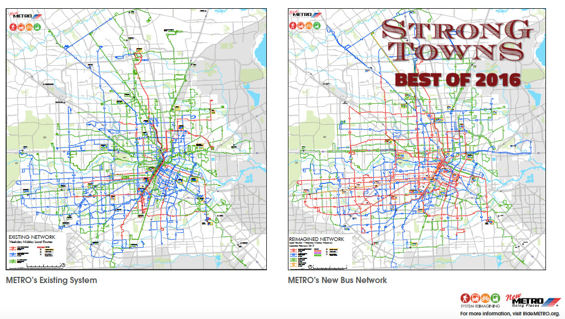 Houston Bus Map Best of 2016: Houston's Groundbreaking New Transit System — Strong