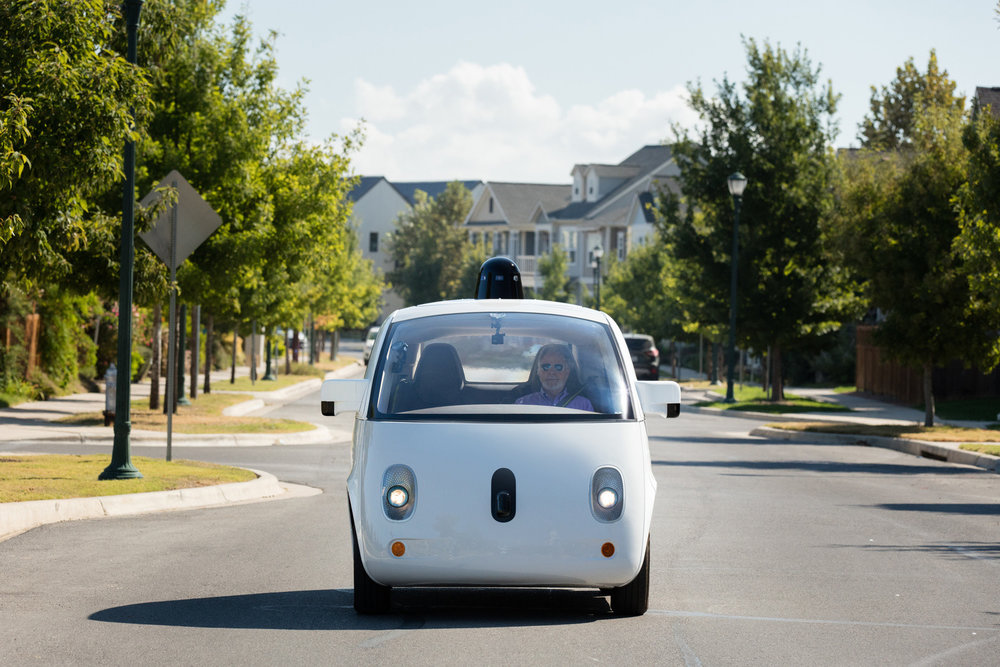 A prototype from  Waymo , formerly known as the Google car. One day, out of the blue, this will arrive to pick us up.  (Source)