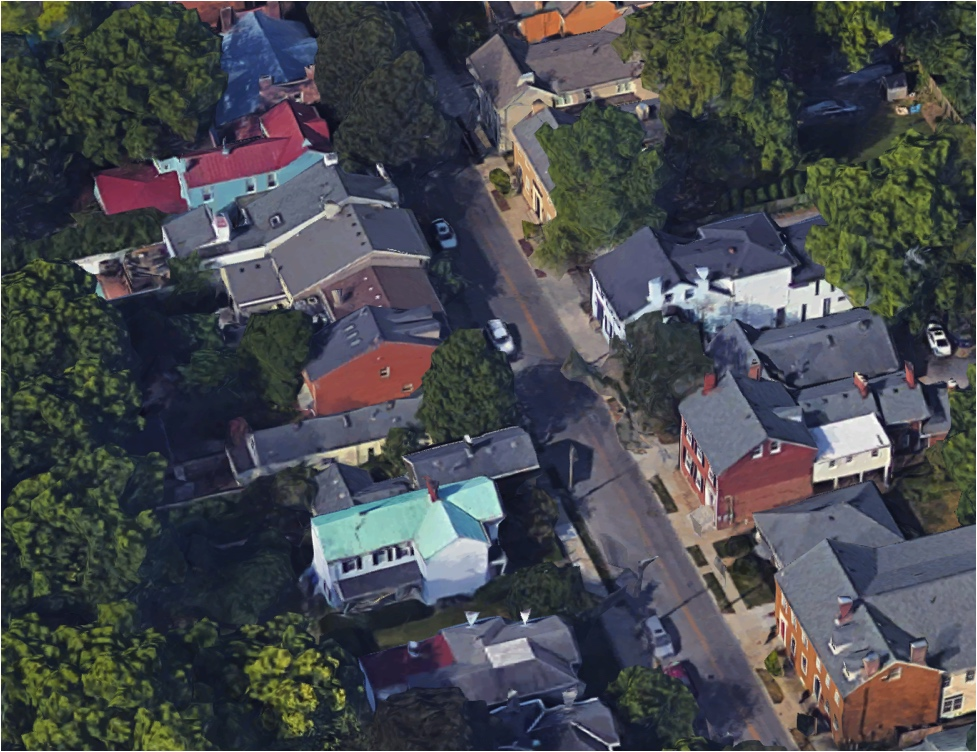 Small setbacks, high lot coverage, and very little off-street parking: South Mill remains one of Lexington's most desirable residential streets. (Google Maps)