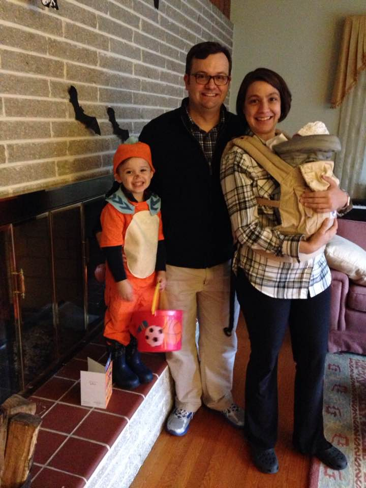 The Erfurt family gearing up for a walk on Halloween