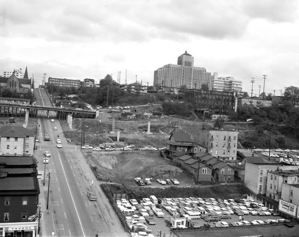 I-5 construction in Seattle, 1963. Source: Wikimedia Commons.