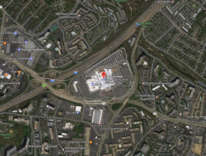 Landmark Mall, with I-395 to the north, Duke Street to the south, and Van Dorn Street to the east. Image by  Google Maps .