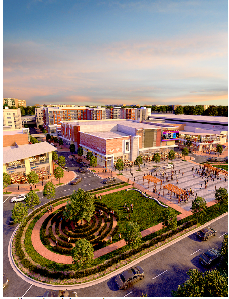 Rendering of new Landmark site with new green space and mixed use buildings. Image by  City of Alexandria .