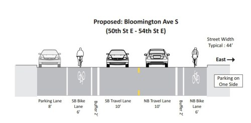 Planned layout for Bloomington Ave in Minneapolis