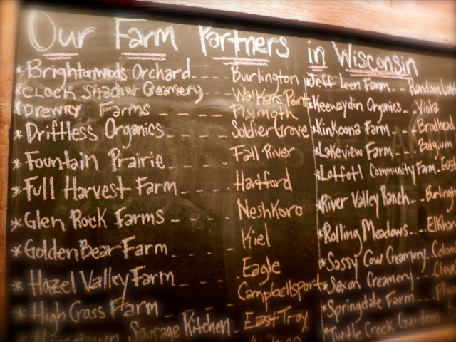 The frequently updated chalk board listing local suppliers for Braise Restaurant in Milwaukee (Photo from motherofalltrips)