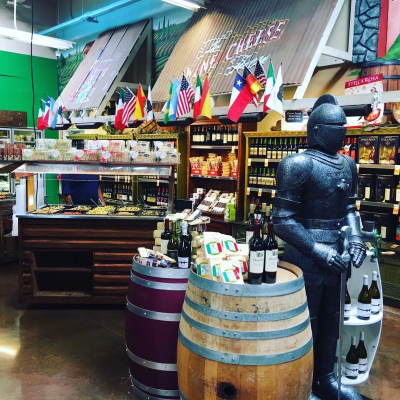 The olive and wine bar at Harvest Fresh Farmers Market