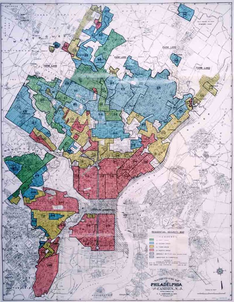 A HOLC (Home Owners' Loan Corporation) redlining map of Philadelphia, adopted by the FHA in the 1930s. Source: Wikimedia Commons.