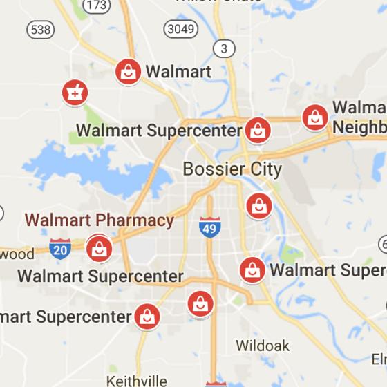 Shreveport area Walmarts. (Image from google maps.)