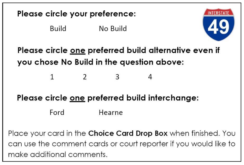 A Choice Card example from the second round of public meetings.  See the full meeting summary here .