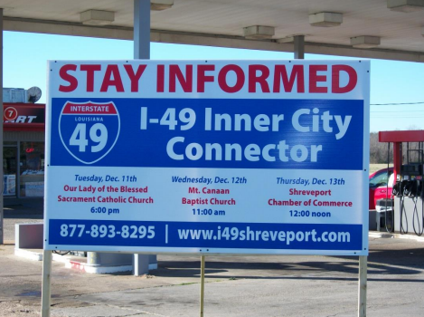 An advertisement for a public meeting about the I-49 connector. (Image from  I-49 round two community input meeting summary .)