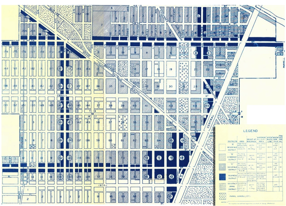 Harvey, IL Zoning Plan c. 1930, prepared by the city engineer (cropped and modified by Alexander Dukes to fit page). Original image source:  The University of Chicago