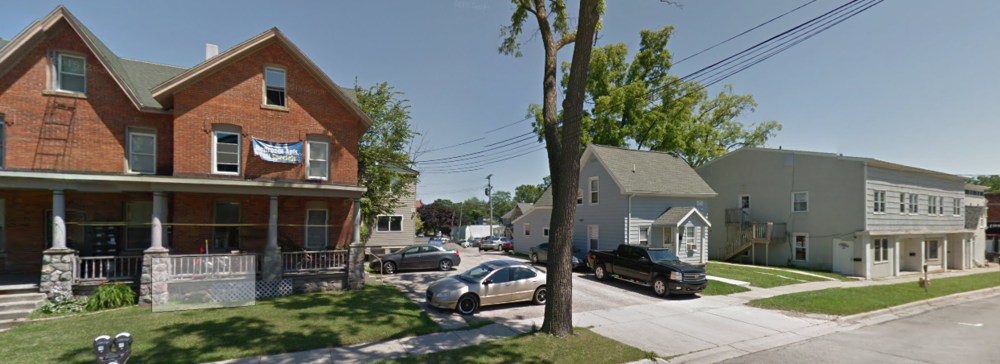 Different housing sizes and options line a street in Ypsilanti, MI (Image from Google Maps)