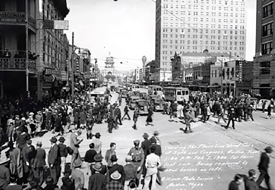 Last day of the electric streetcar. Congress Avenue at 6th St, Austin, Texas, 1940.