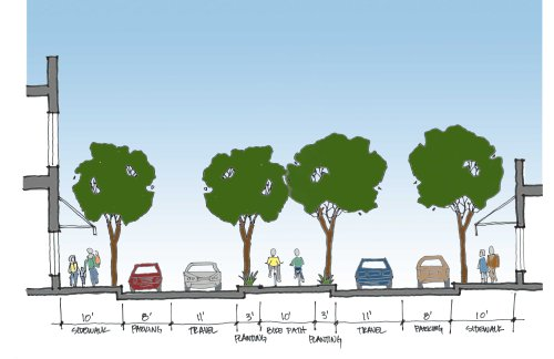 Proposed section with center protected bike lane