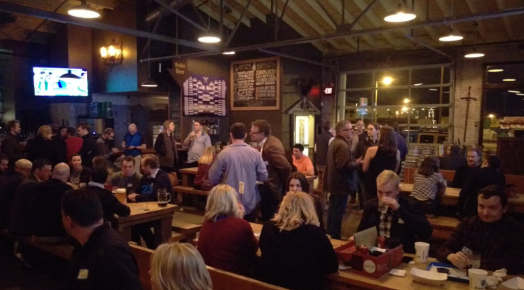 Strong Towns gathering at Fassler Hall in downtown Tulsa, Thursday, March 31. Source: Mike Christiansen