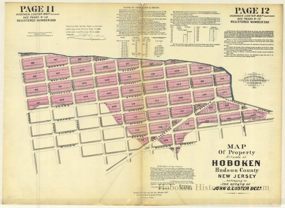 A 1886 Coaster Map showing the north western corner of Hoboken from the Hoboken Historical Museum. ( Source )
