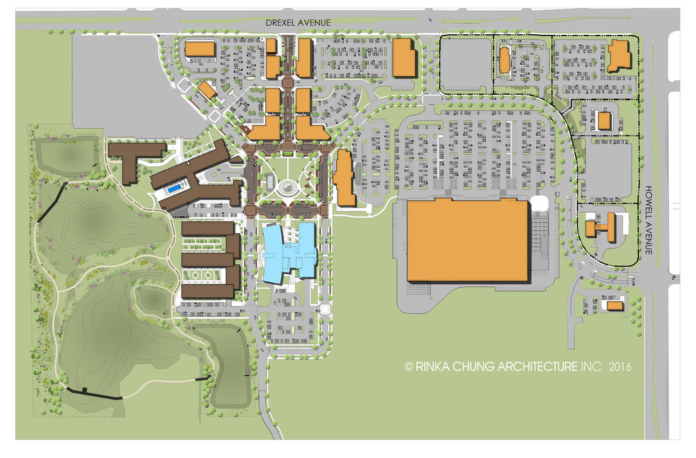 The gray segments of this illustration are almost all parking. (Rendering from  Drexel Town Square website )