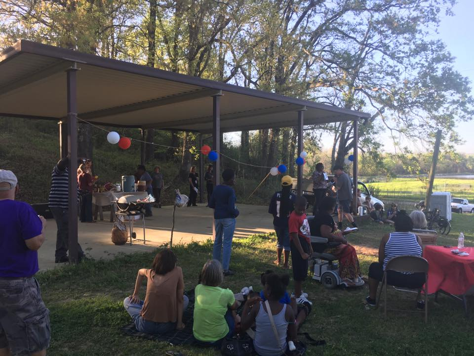 A gathering at SWEPCO park in the Allendale neighborhood of Shreveport, which may be demolished for the sake of an inner city highway. (Image from 2000 Friends of Allendale Facebook page.)