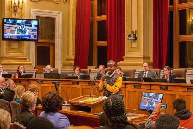 A resident testifies at a Minneapolis City Council Budget Hearing. (Source: Tony Webster)