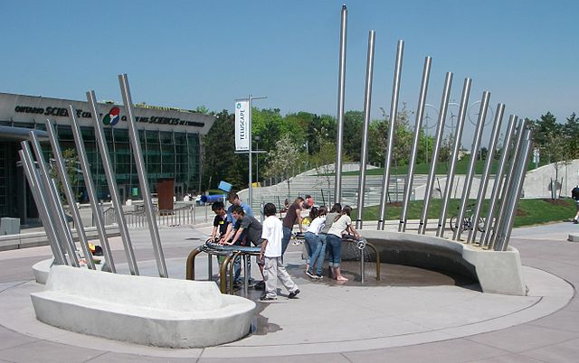A hydraulophone water pipe organ serves as public interactive art in Ontario, Canada. (Source: Glogger)