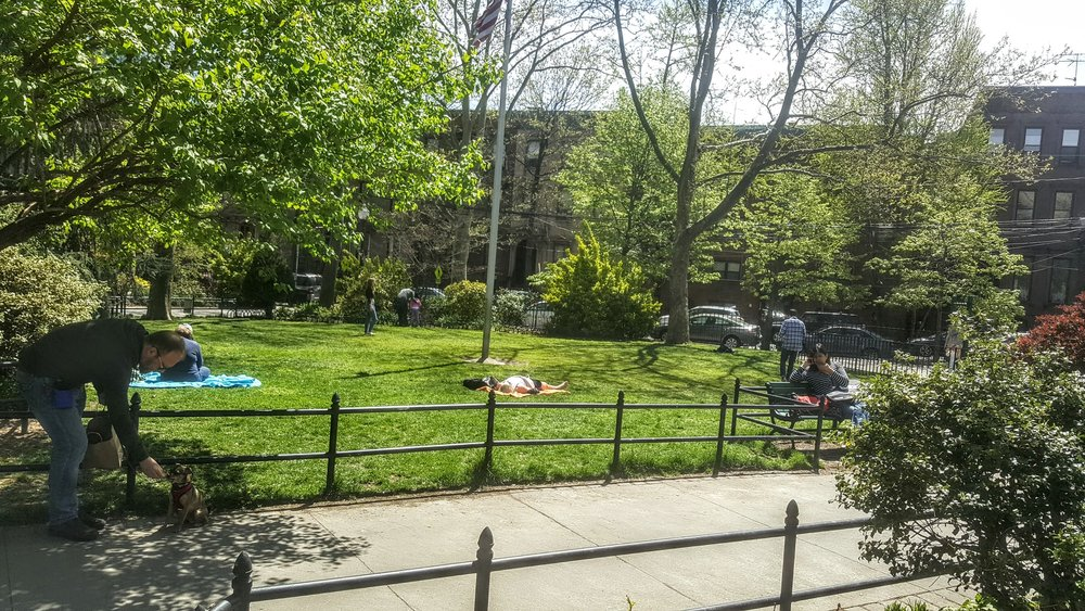 People enjoying the lawned area of Van Vorst Park.